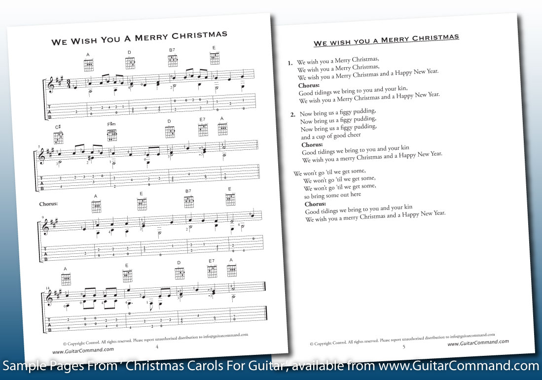 Printable christmas guitar tabs chords download guitar tab we wish you a merry christmas hexwebz Choice Image
