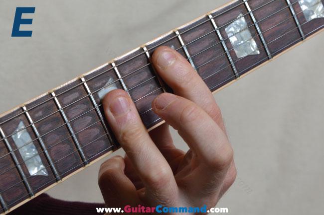 E Chord Guitar Finger Position Diagrams & Photos