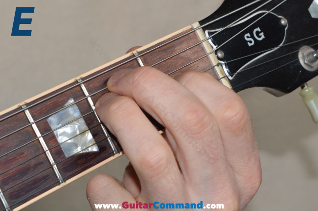 E Chord Guitar Finger Position Photo