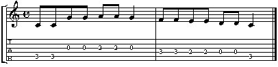 Twinkle Twinkle Little Star Guitar TAB