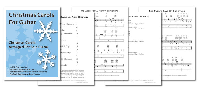 Carols Guitar - Solo Guitar Arrangements With TAB & Chords