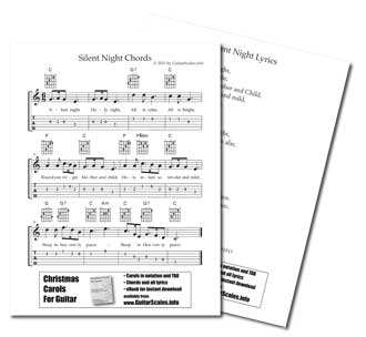 Sheet music for guitar silent night