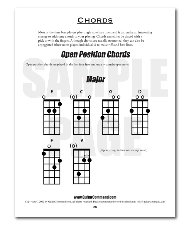 Bass Guitar Scales Book Sample Page - Chords - Guitar Command