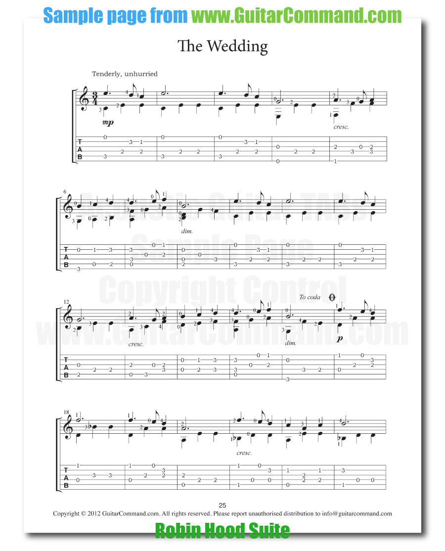 Acoustic guitar tabs view play download samples from our books acoustic guitar tabs the wedding from robin hood suite hexwebz Gallery