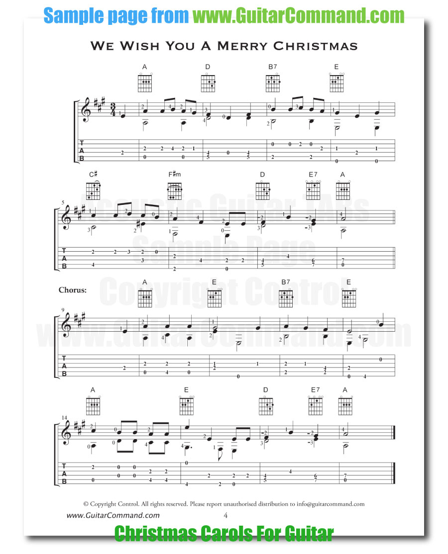 Christmas Guitar Tabs Fingerstyle.Acoustic Guitar Tabs We Wish You A Merry Christmas Guitar