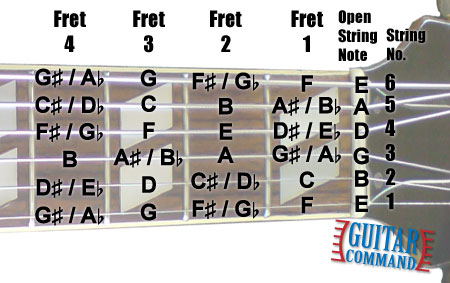 Open Position Guitar Fret Notes